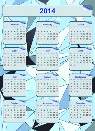 Calendar grid for 2014 in Blue Diamond background  illustration Stock Vector - 18846380