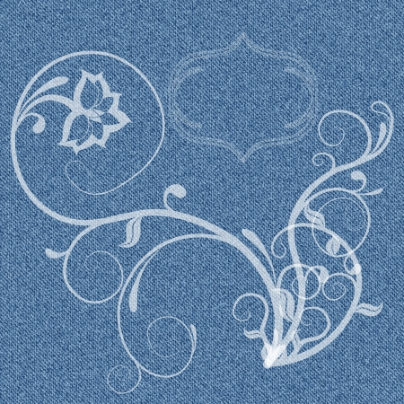 Denim background with white curls and delicate vignette for text  illustration Vector