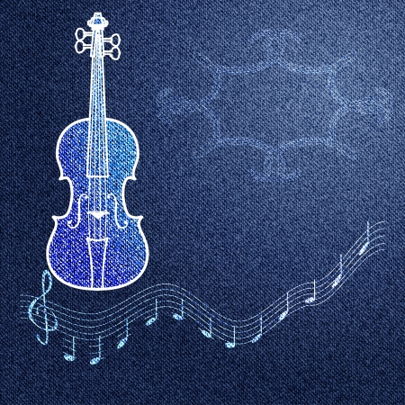 fiddles: Blue jeans background with a pattern on a musical theme and the vignette  Vector illustration Illustration