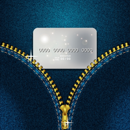 Denim background with a gold zipper and a credit card  Vector illustration