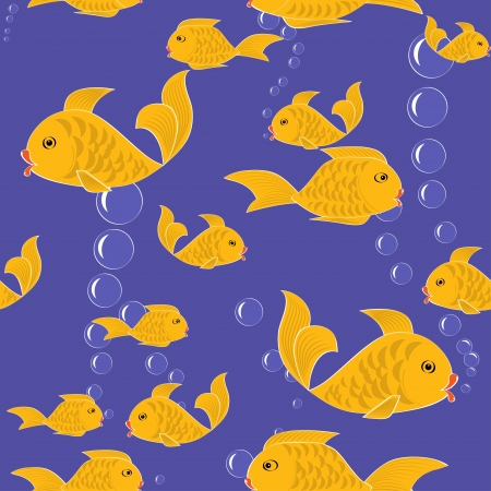 Seamless cartoon pattern with gold fish  illustration Vector