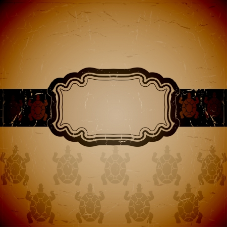 scuff: Aged background with silhouettes of turtles  Vector illustration