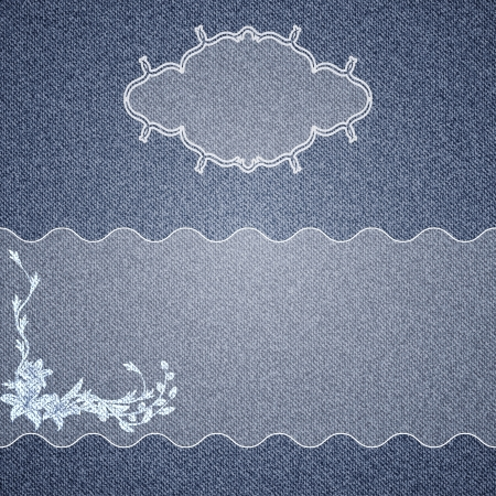 Denim background with white floral pattern and vignette for text  Vector illustration Vector