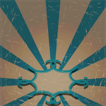 scuff: Grunge background with radiating blue rays and a vignette  Vector illustration Illustration