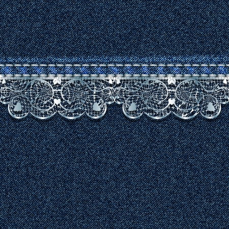 Denim background with white lace  Vector illustration