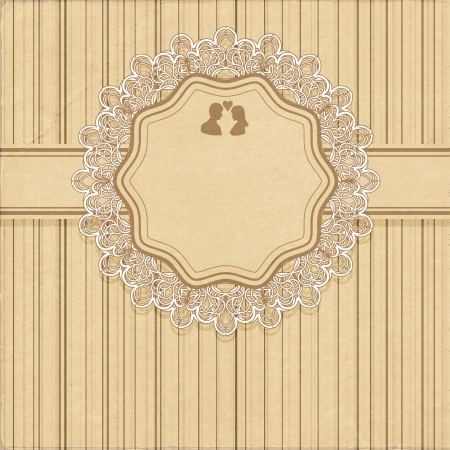 scuff: Vintage wedding invitation or greeting card with lace. Vector illustration Illustration