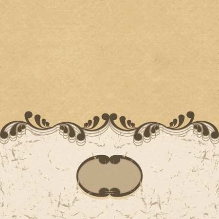 scuff: Vintage background with curls and a vignette. Vector illustration