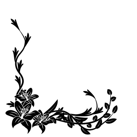 Black and white floral pattern. Vector illustration
