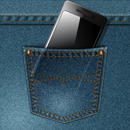 Smartphone in the jeans pocket. Vector illustration