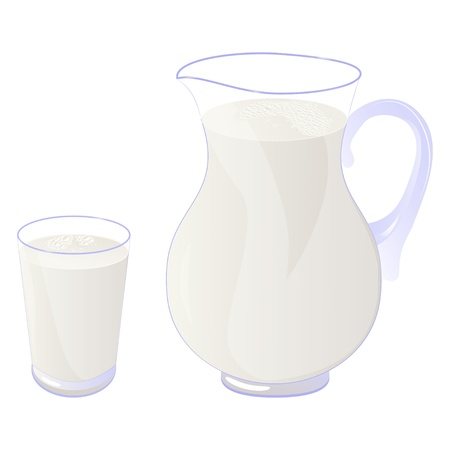 Pitcher and glass of milk isolated on white. Vector illustration