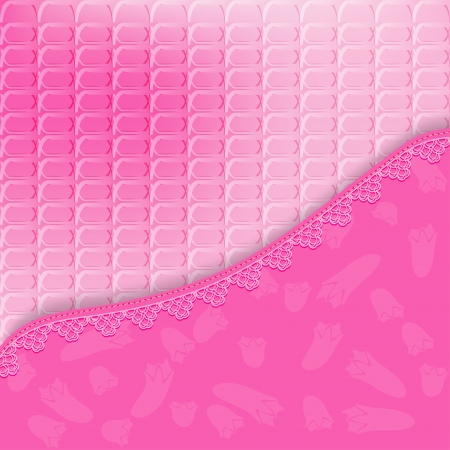 Bright pink background with lace. Vector illustration Stock Vector - 19657443