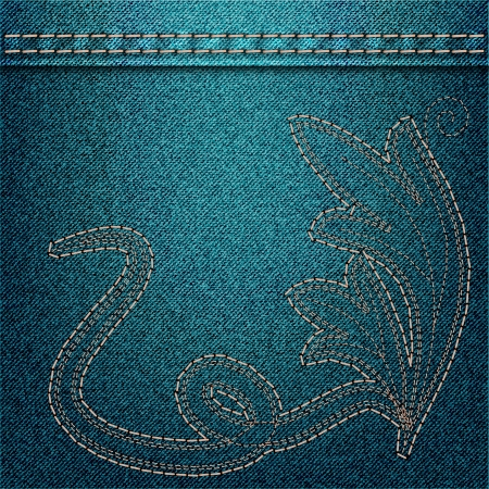 Denim background with embroidery. Vector illustration Vector