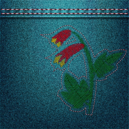 Denim background with floral embroidery. Vector illustration Vector