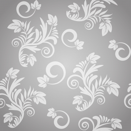 Seamless floral pattern in gray and white. Vector illustration Vector