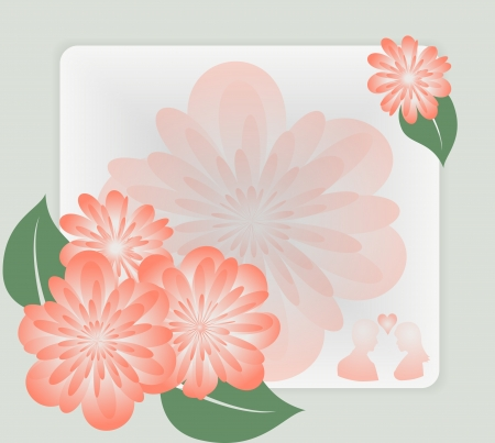 Background with delicate pink flowers and leaves. Vector illustration Vector