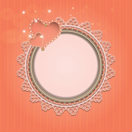 Delicate pink frame with hearts and lace. Vector illustration Vector