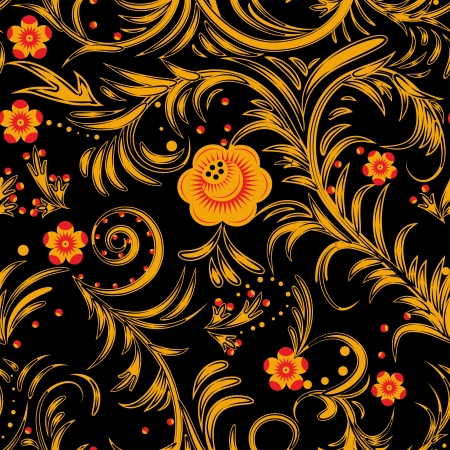 russian tradition: The traditional Russian floral seamless background (yellow and red on black). Vector illustration