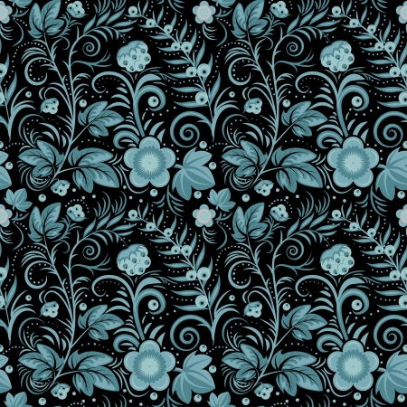 Floral seamless background (blue berries and flowers on black). Vector illustration