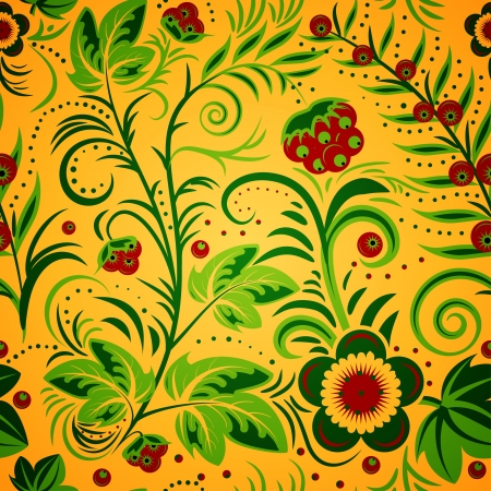 The traditional Russian floral seamless background (green and red on gold). Vector illustration