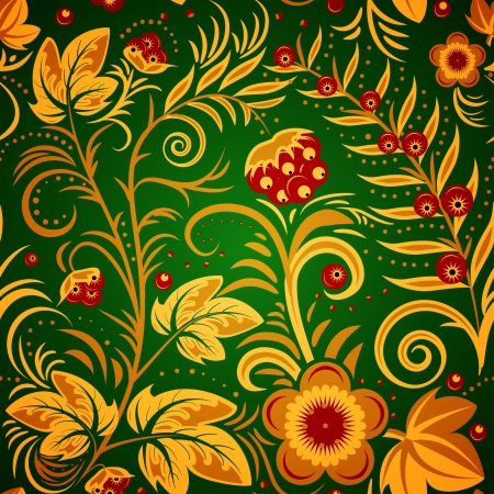 The traditional Russian floral seamless background (gold and red on green). Vector illustration Vector