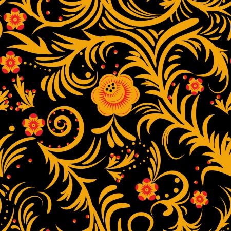 The traditional Russian floral seamless background (gold and red on black). Vector illustration Vector