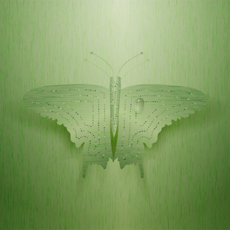 Large metal butterfly on a green background. Vector illustration Stock Vector - 19657455