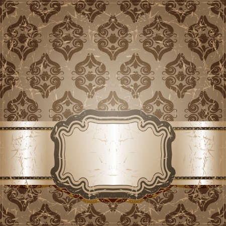 scuff: Antique brown patterned background. Vector illustration..