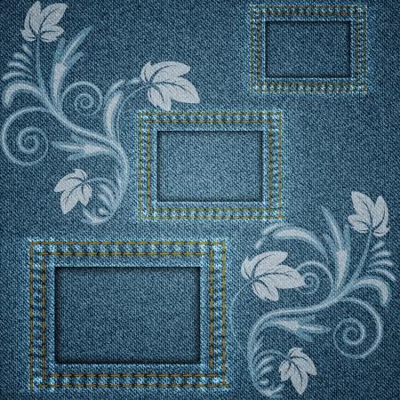 Denim blue background with three square frames elements and printed white floral pattern  Vector illustration  Vector