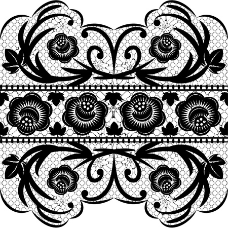 black lace: Seamless black lace ribbon on a white background. Vector illustration.