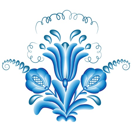 Blue floral pattern (bouquet) in gzhel style, isolated on white. Vector illustration