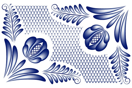 Blue floral pattern with flowers in the corners in the style gzhel. Vector illustration Illustration