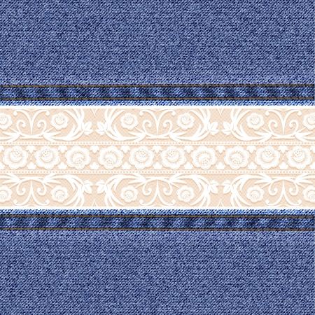 Denim background with white lace. Vector illustration Illustration