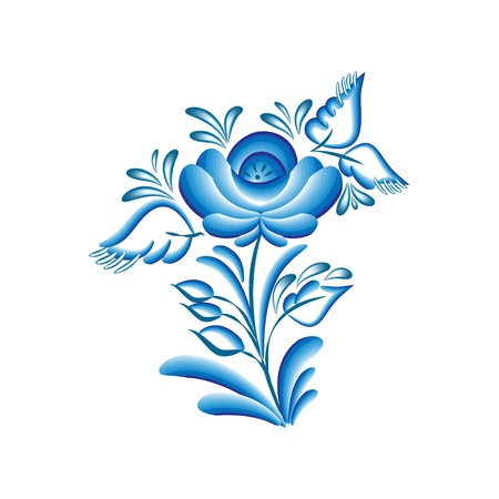 Blue floral pattern (flower) in gzhel style, isolated on white. Vector illustration Illustration