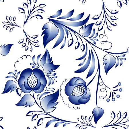 Seamless blue floral pattern in gzhel style. Vector illustration