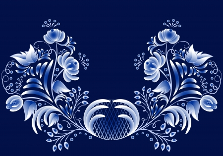 Blue floral pattern in gzhel style on a dark background. Vector illustration Blue floral pattern in gzhel style. Vector illustration