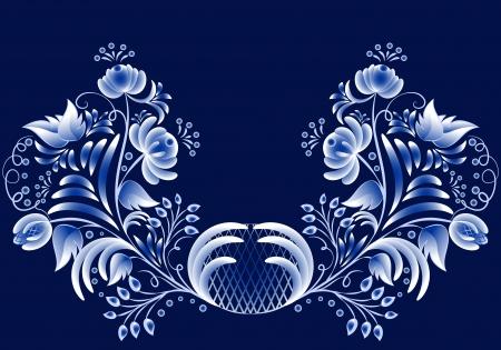 Blue floral pattern in gzhel style on a dark background. Vector illustration Blue floral pattern in gzhel style. Vector illustration