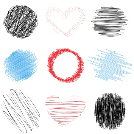 circle shape: A set of pencil doodles of different colors and shapes. Vector illustration.
