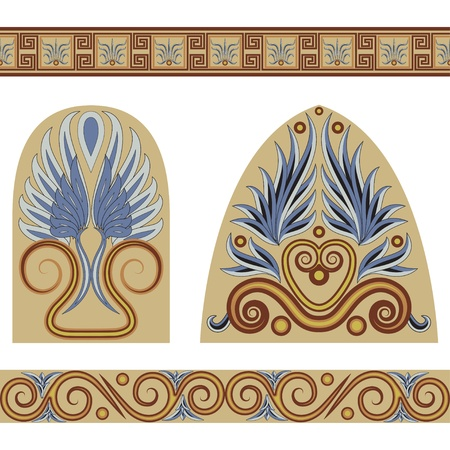 A set of patterns and ornaments in the Greek style. Vector illustration. Vector