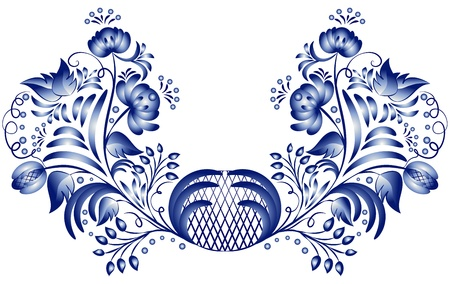 Blue floral pattern in gzhel style on a white background. Vector illustration Blue floral pattern in gzhel style. Vector illustration Vector