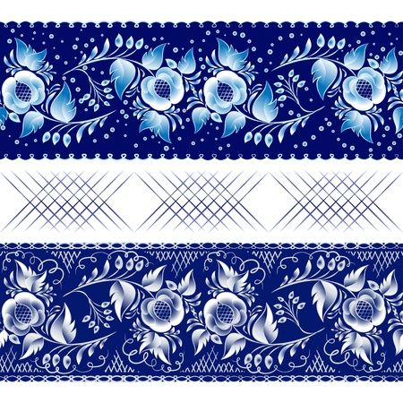 Set of horizontal seamless gzhel patterns on a dark blue background. Vector illustration Blue floral pattern in gzhel style. Vector illustration
