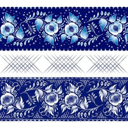 Set of horizontal seamless gzhel patterns on a dark blue background. Vector illustration Blue floral pattern in gzhel style. Vector illustration