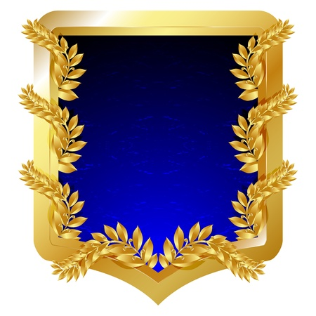 Golden emblem with laurel branches and blue field, isolated on white  illustration