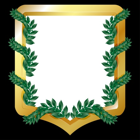 cognizance: Golden emblem with laurel branches, isolated on black   illustration