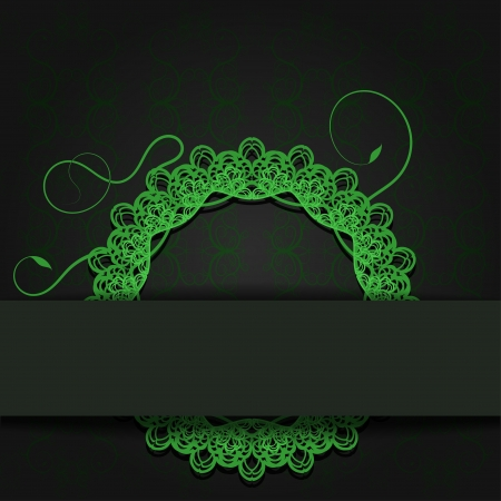 Abstraction dark background with green openwork lace element and a place for text.  illustration Stock Vector - 20437301