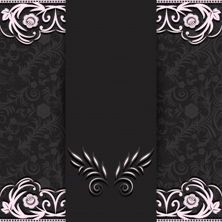 Abstraction dark background with floral lace elements and a place for text.