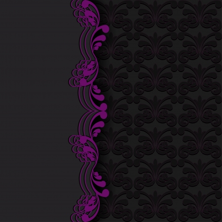 Abstraction dark background with violet floral elements.  illustration