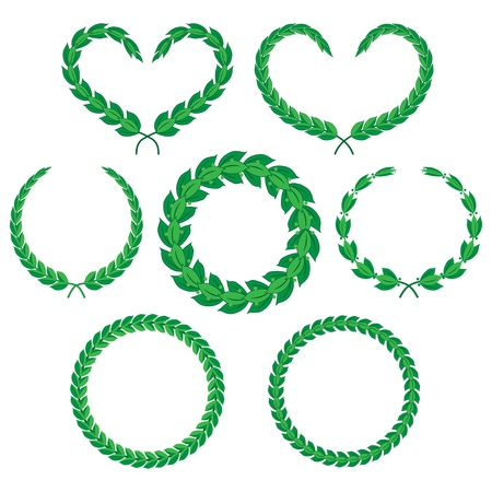 Laurel branches and wreaths. A set of decorative elements, isolated on white.illustration Stock Vector - 20437262