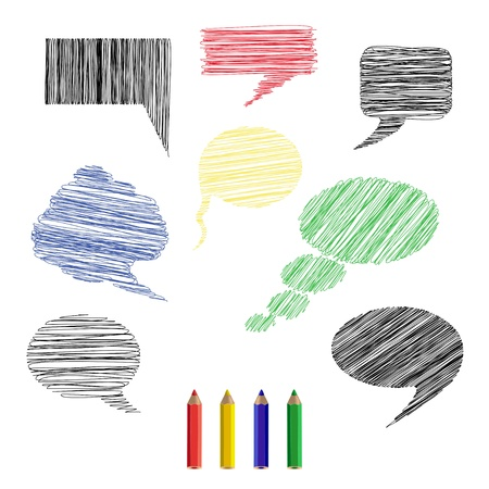 A set of pencil sketches icons comments. Stock Vector - 20437267