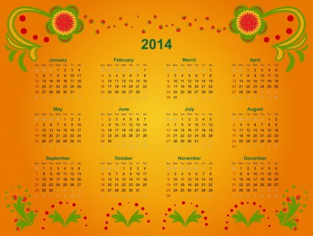 The calendar grid in 2014 with elements of Art khokhloma illustration Illustration