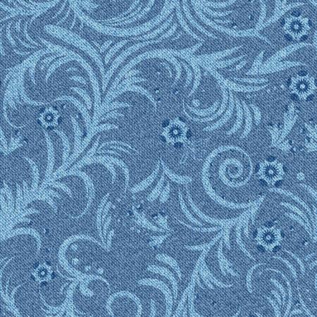 denim background: Seamless denim background with floral pattern illustration